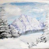 Як намалювати зимові гори гуашшю