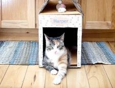 Як зробити будиночок для кішки з коробки